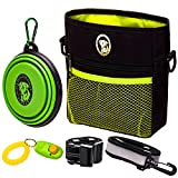 PERRAMA Dog Treat Bag, Training Pouch for Small and Large Dogs with Clicker and Collapsible Food Bowl BPA Free – Pet Treats Tote Bag with Waist and Shoulder Reflective Straps and Belt Clip (Black)