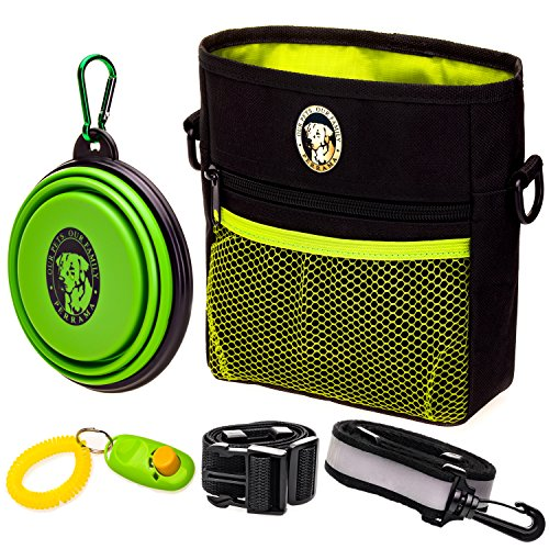 PERRAMA Dog Treat Bag, Training Pouch for Small and Large Dogs with Clicker and Collapsible Food Bowl BPA Free – Pet Treats Tote Bag with Waist and Shoulder Reflective Straps and Belt Clip (Black) by PERRAMA