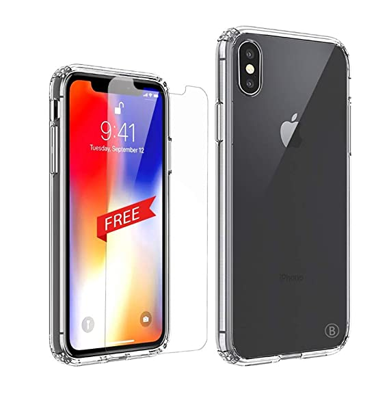 new concept 83cfd a8307 iPhone Xs Max Case,PC TPU Hybrid 2 in 1 Protective Case for iPhone Xs Max,  Transparent iPhone case, Anti-Scratch Hard Back,iPhone 6.5