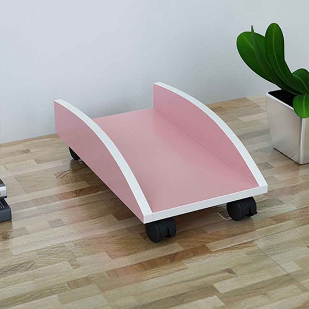 LQQGXLポータブル折りたたみテーブル 木製のコンピュータメインフレームブラケット、デスクトップメインフレームベース、取り外し可能なシャーシトレイ、 (色 : Pink) B07H4R3ZSR Pink Pink