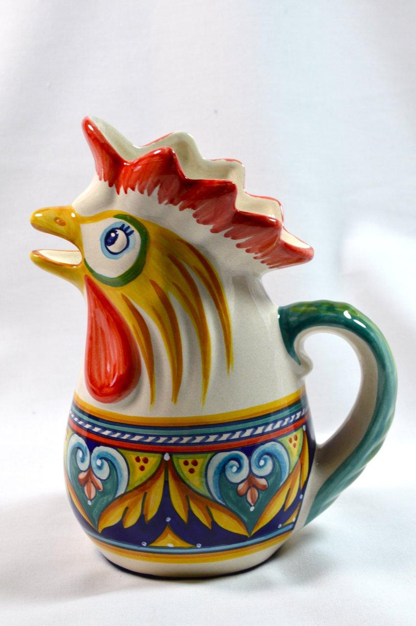 Ceramic Rooster Pitcher, Blue Heart by Deruta Ceramic