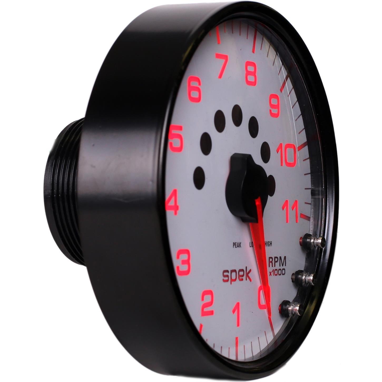 5 W//Shift Light /& Peak Mem 11K RPM White//Black Auto Meter P23912 Gauge Tachometer Spek-Pro 5