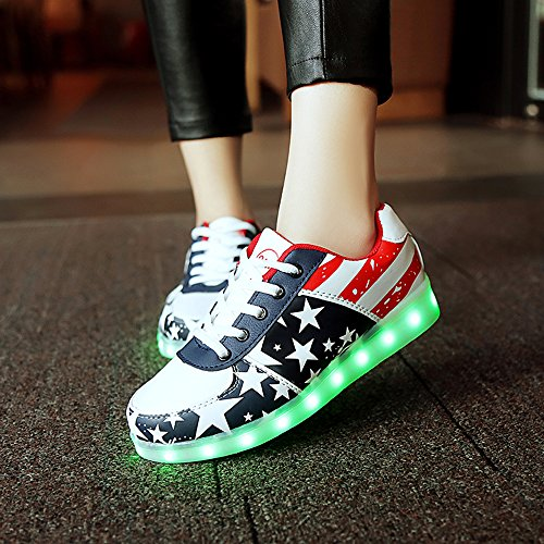High Charging Unisex Faux 38 Top LED Leather Shoes Star Sneakers Fengzhicai USB Star LED Flashing 8qFSFx