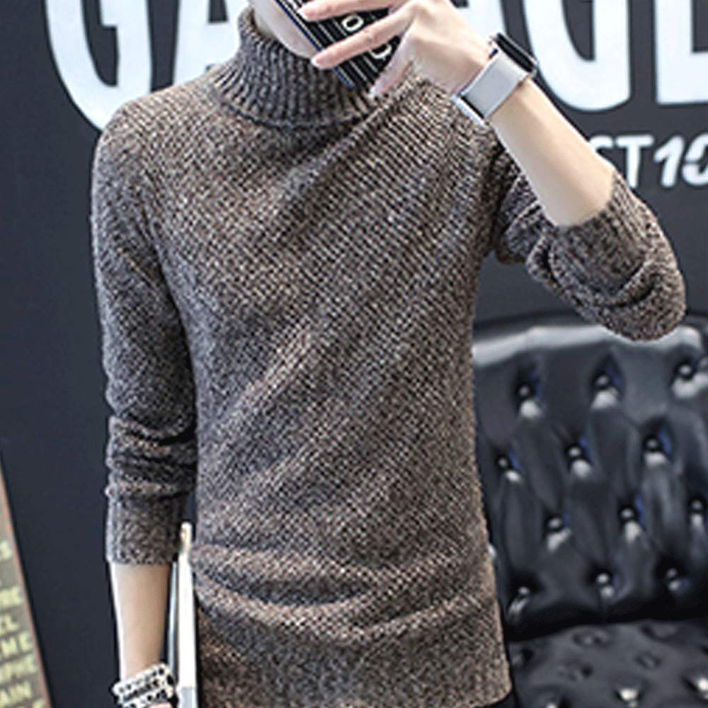 EVEDESIGN Mens Thermal Turtleneck Pullover Sweaters Basic Knitted Long Sleeve Sweater