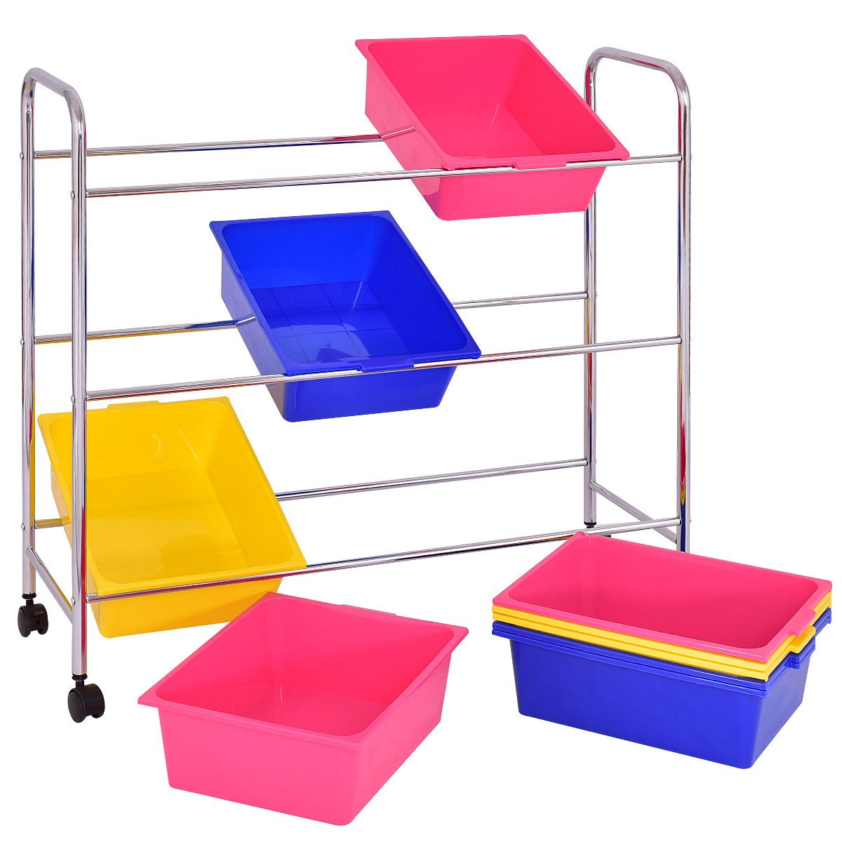 KCHEX>Toy Bin Cart Rack Organizer Kids Childrens Storage Box Playroom Bedroom Shelf>This is Our 9 Plastic Drawer Rolling cart, which is of and Brand New. Thanks to its Colorful Plastic by KCHEX (Image #5)