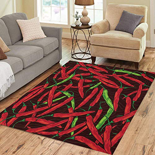 - Semtomn Area Rug 5' X 7' Green Pattern Abstract Red Hot Chili Peppers Cartoon Cayenne Home Decor Collection Floor Rugs Carpet for Living Room Bedroom Dining Room