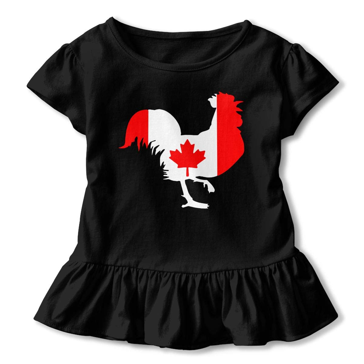 HYBDX9T Little Girls Rooster with Canada Flag Funny Short Sleeve Cotton T Shirts Basic Tops Tee Clothes