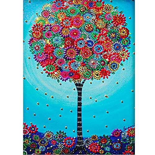 DIY 5D Special Shape Diamond Painting by Number Kit Crystal Rhinestone Round Drill Picture Art Craft Home Wall Decor 12x16In Flowers Tree