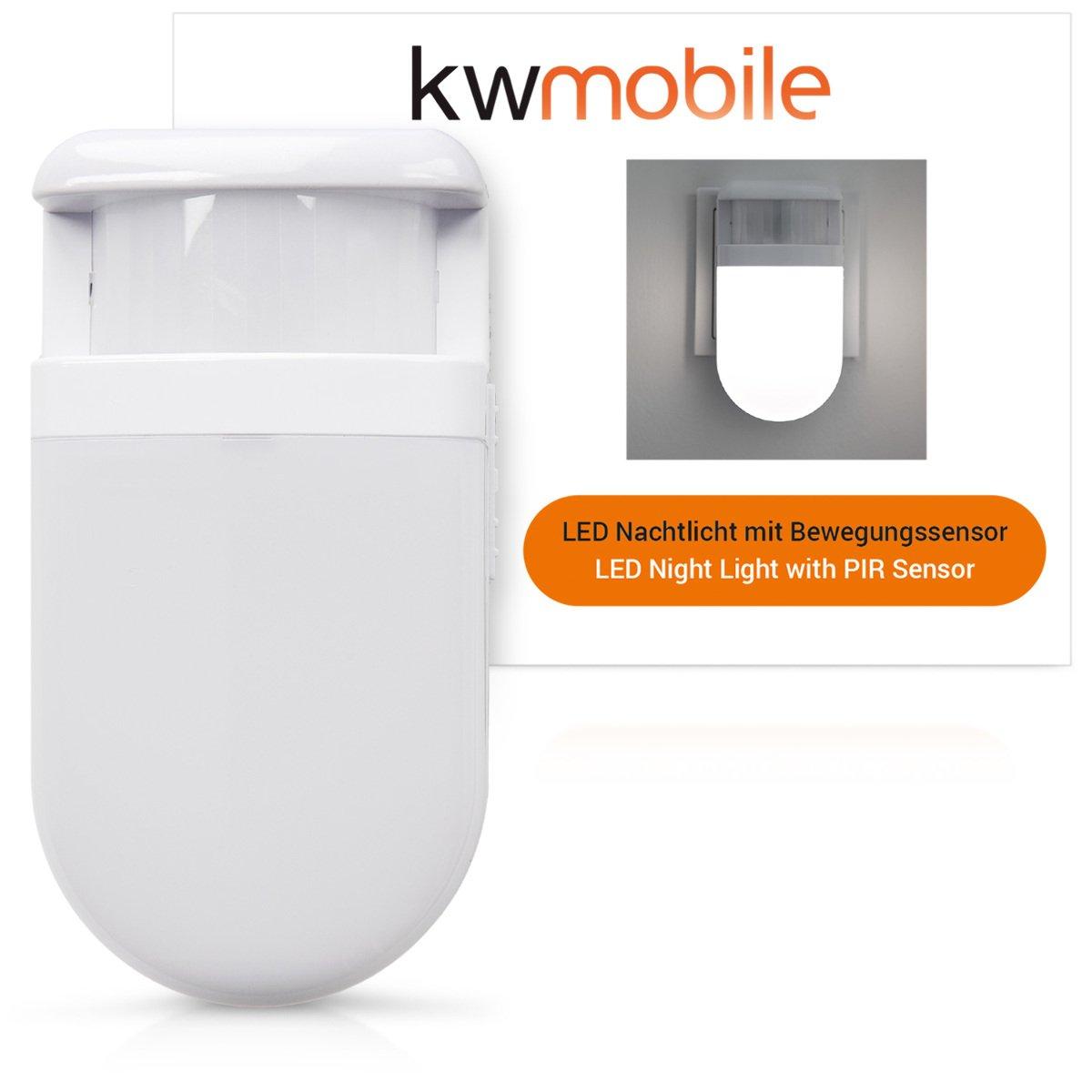 kwmobile Luz nocturna LED - Luz blanca cálida con sensor de movimiento - Lámpara para cuarto de niños - Luz de noche con temporizador y enchufe: Amazon.es: ...
