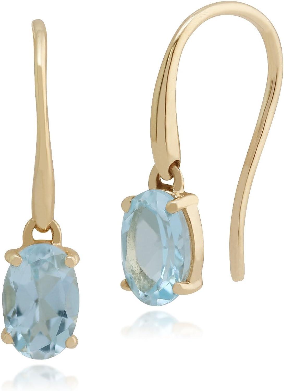 Gemondo de Mujer 375 Oro 9CT Ovalado de Oro Amarillo Aguamarina una Piedra Anzuelo Pendientes Azul