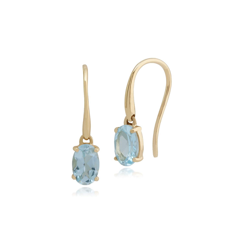 Gemondo 9ct Yellow Gold Aquamarine Single Stone Tear Drop Earrings