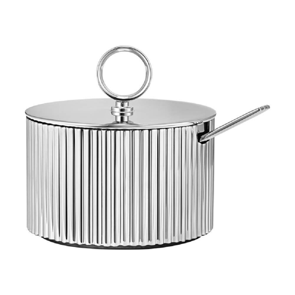 Georg Jensen Bernadotte Sugar Bowl with Spoon, Stainless Steel