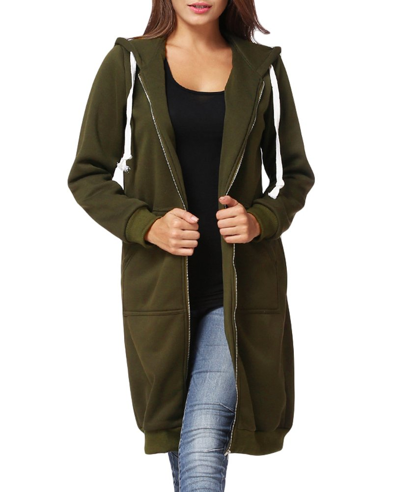 Romacci Women Hoodie Long Hooded Sweatshirts Casual Outerwear Jacket
