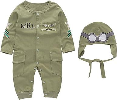 Newborn Baby Boy Pilot Romper Jumpsuit Bodysuit /& Hat Toddler Outfit Set Clothes