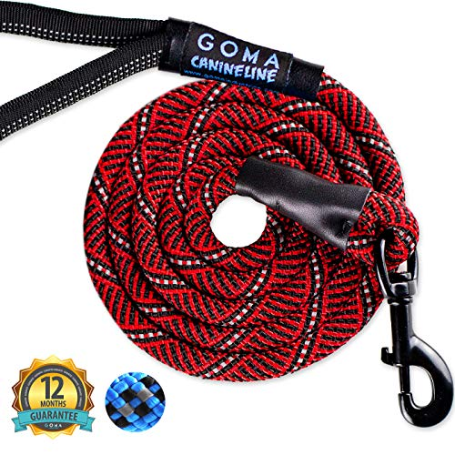 GOMA Industries Dog Leash - Reflective Chew Resistant Lead - 100% Nylon Indestructible Training leashes - for Medium Large and XL pups - Mountain Climbing Rope Made