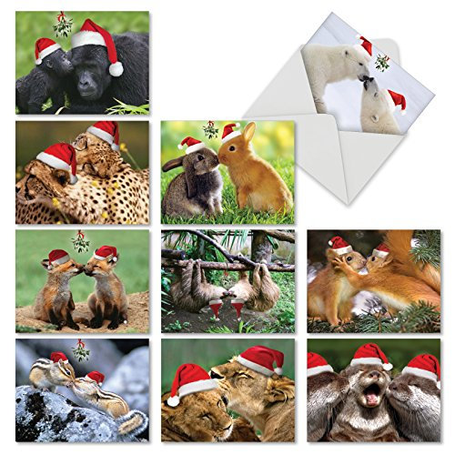 - 10 Adorable 'Holiday Animal Smackers' Merry Christmas Cards with Envelopes (Mini 4