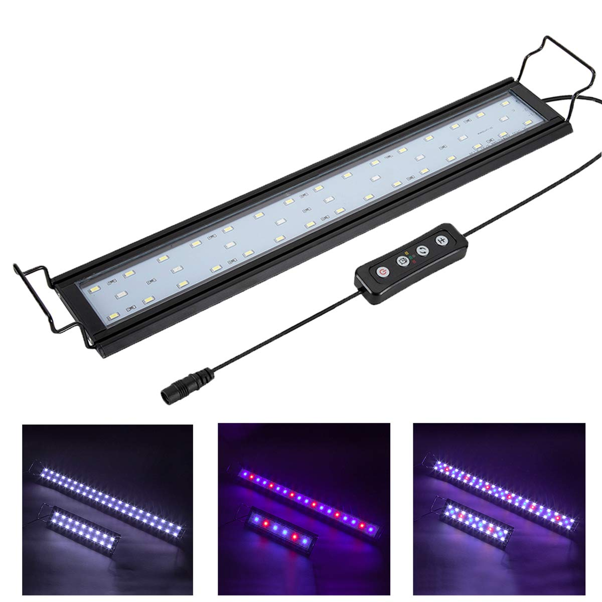 Hygger 14W Full Spectrum Aquarium Light with Aluminum Alloy Shell Extendable Brackets, White Blue Red LEDs, External Controller, for Freshwater Fish Tank (18-24 inch) by Hygger