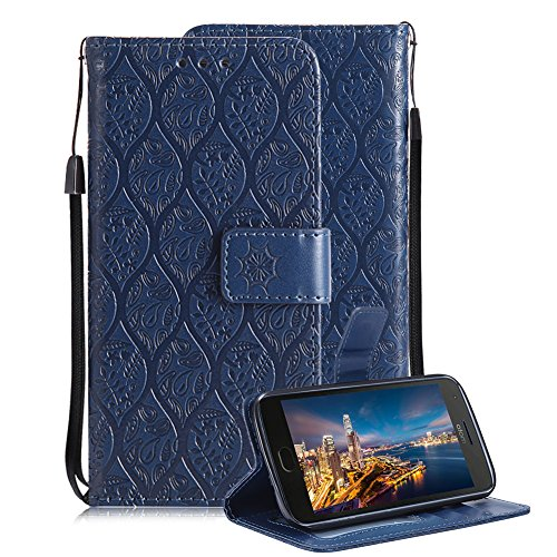 Price comparison product image For Motorola MOTO G5 Plus Wallet Case, Aearl Premium PU Leather Embossed Rattan Flower Design Case with Stand Function Card Holder Wrist Strap Slim Flip Protective Cover for MOTO G5 Plus - Dark Blue