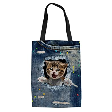 ELVISWORDS Denim 3D Cute Animal Pug Dog Print Women Handbag Canvas Large Tote Bags for Ladies