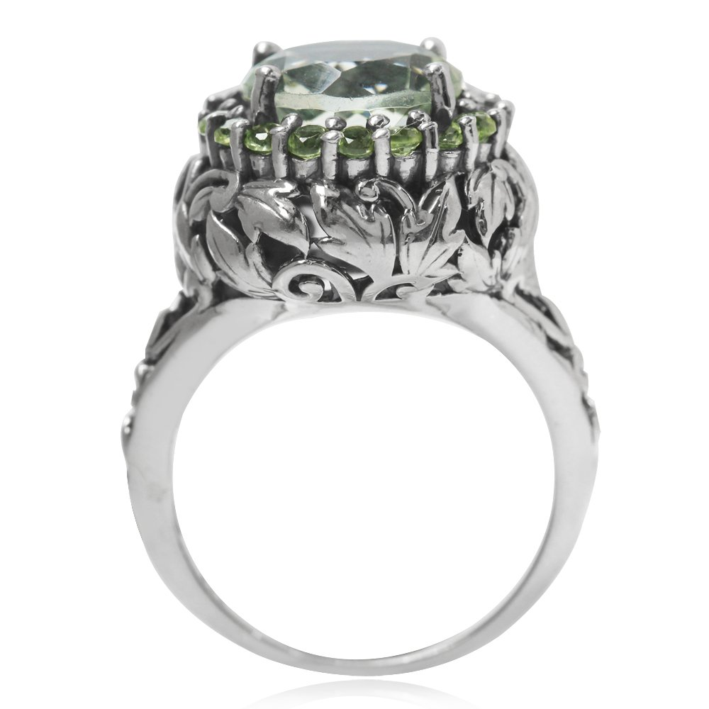 Silvershake 3.75ct. Natural Round Shape Green Amethyst and Peridot 925 Sterling Silver Leaf Vintage Style Ring