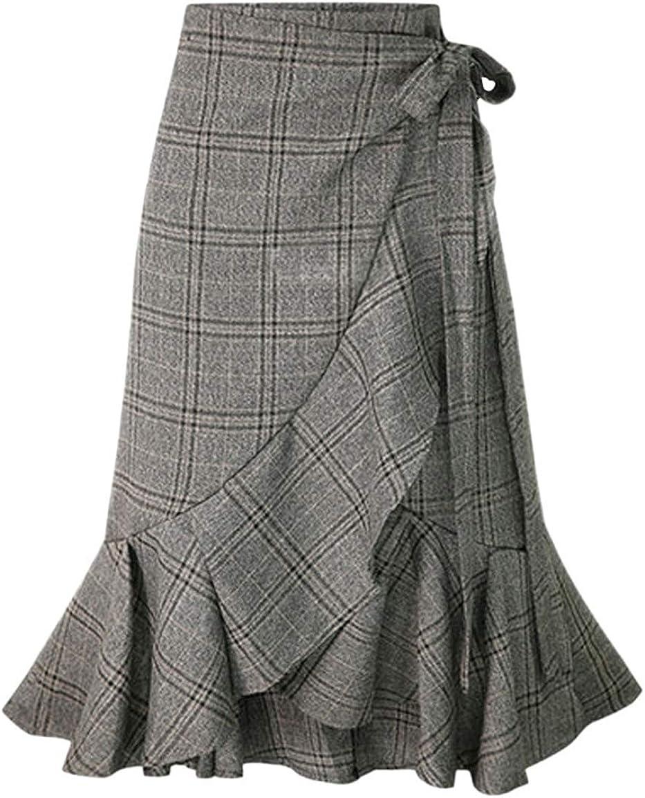 chouyatou Women's Elegant Work Wear Adjustable Waist Flounce A-Line Plaid Midi Wrap Skirt