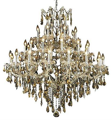 Karla Chrome Traditional 37-Light Grand Chandelier Heirloom Handcut Crystal in Golden Teak -2381G44C-GT-RC--16