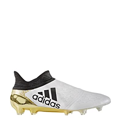 406e66bb2 X 16 + Pure Chaos FG/AG Football Cleats - White/Black/Metallic Gold ...