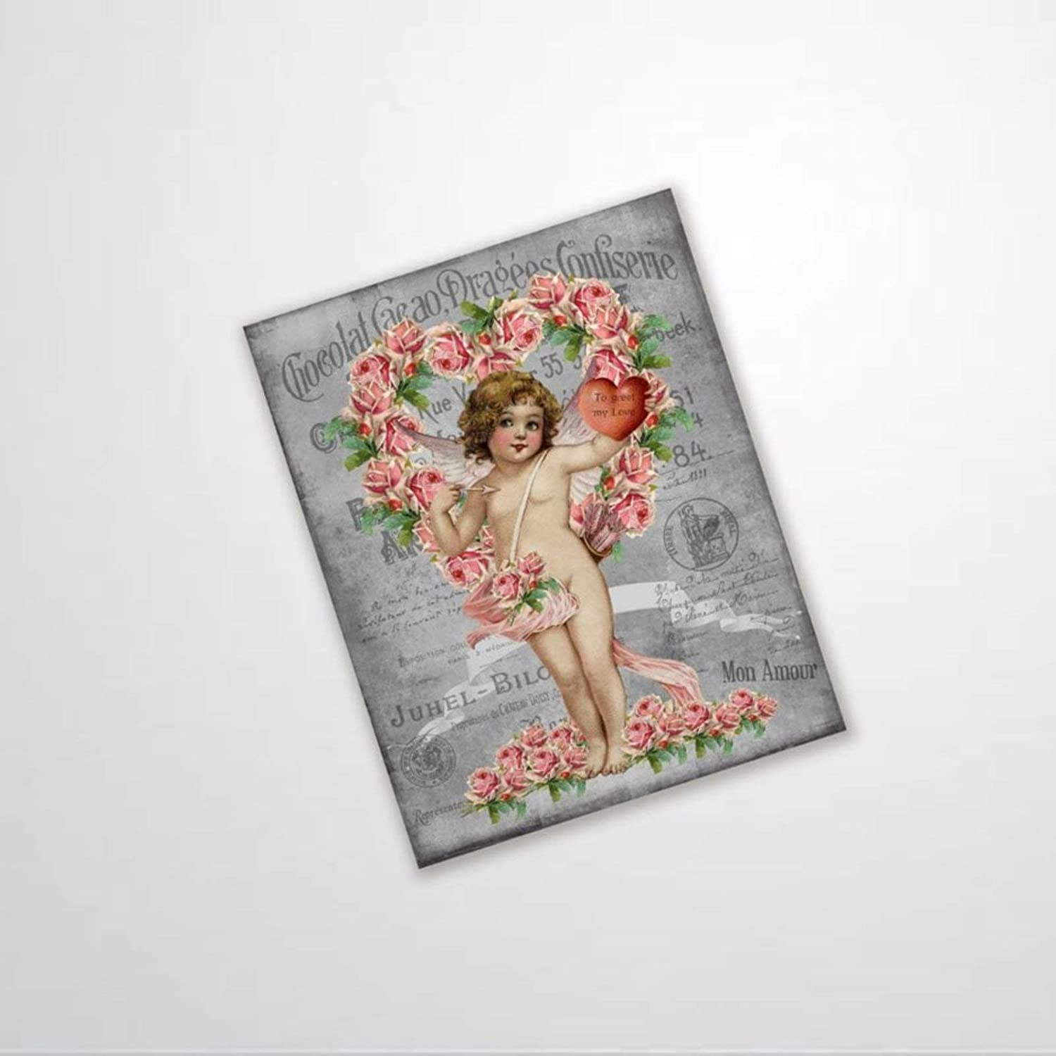 BYRON HOYLE French Valentine's Cupid Metal Sign,Vintage Tin Plaque,Yard Sign Wall Hanging Art,Rustic Wall Decor for Home Garage Coffee Bar Pub Farmhouse Living Room