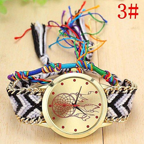 Malltop Elegant Women Braid Bracelet Native Handmade Dreamcatcher Friendship Quartz Wrist Watch (Style C)