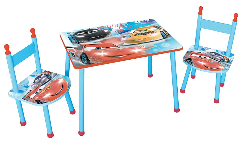 Fun House 712512 Disney Cars Children's Table and Two Chairs Set Blue MDF 60 x 40 x 44 cm CIJEP