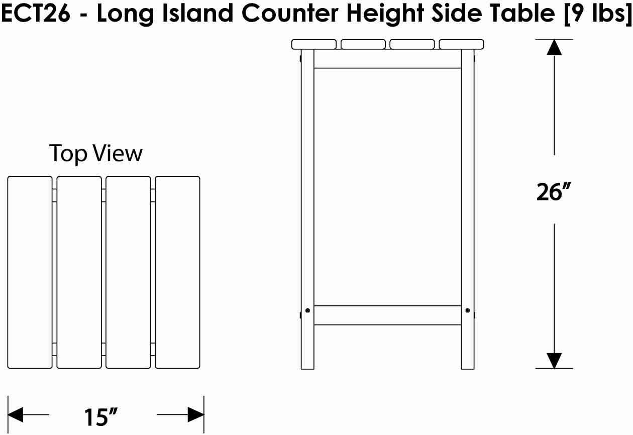 POLYWOOD ECT26AR Long Island 26 Counter Side Table Aruba