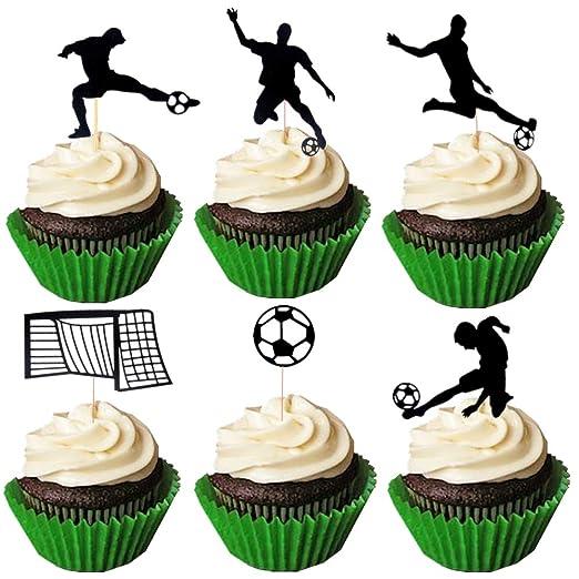 JeVenis - Juego de 24 adornos para cupcakes de fútbol ...