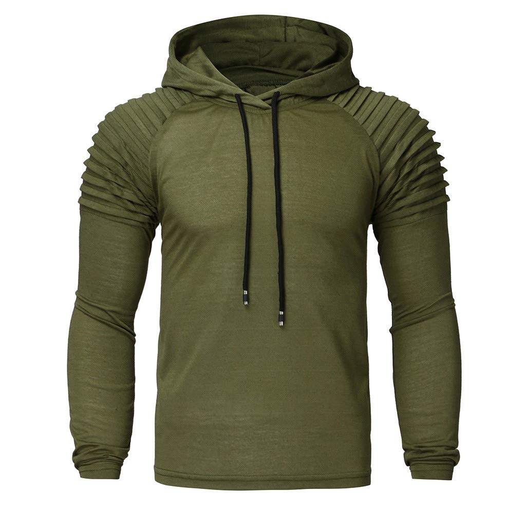 Funnygals - Mens Casual Slim Long Sleeve Bodybuilding Drawstring Hoodies Sweatshirts Cotton and Spandex Green by Funnygals