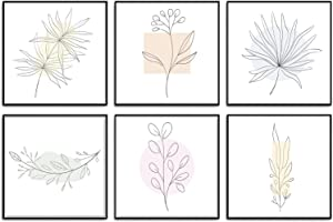 Gmarkk Minimalist Wall Art Prints, Set of 6 Drawings Aesthetic Posters, Unframed Wall Decor- Square 11x11 in. - Modern & Trendy, Bedroom Decor (Botanical)