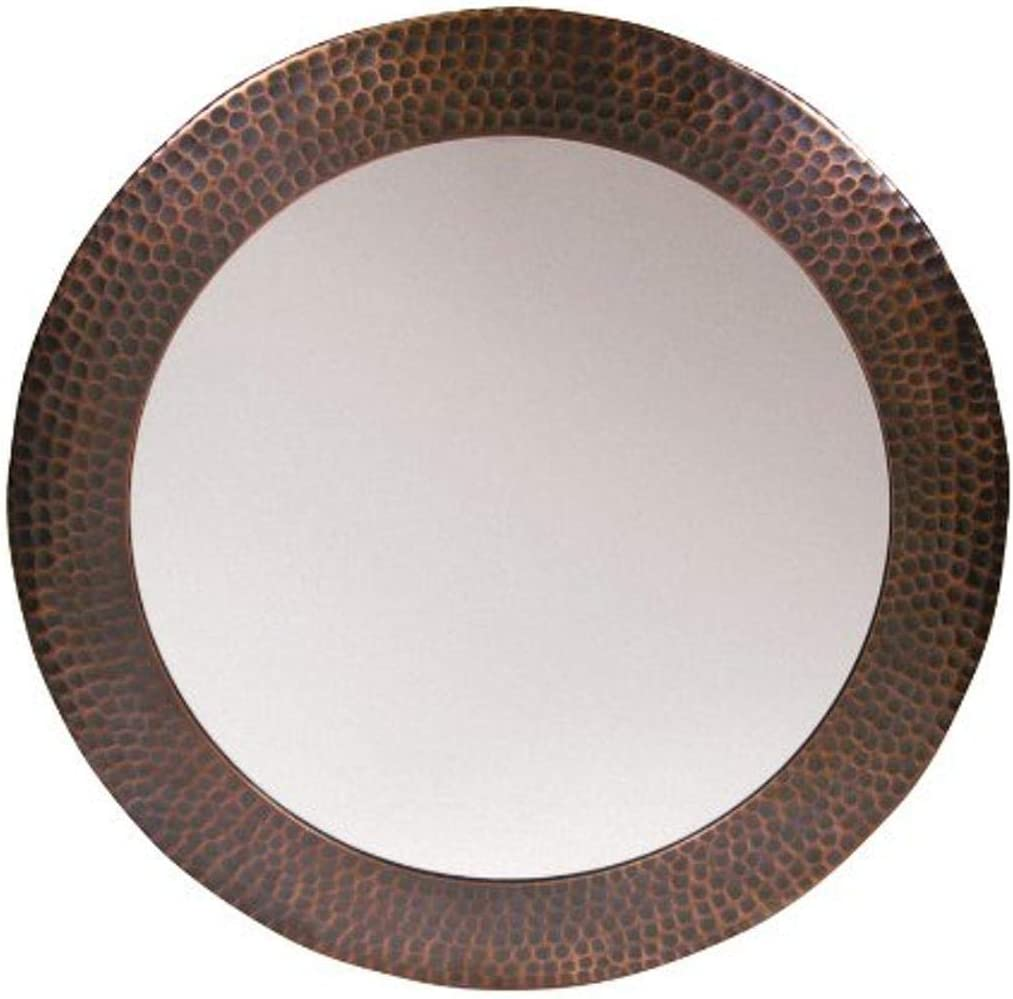 The Copper Factory CF139AN Solid Hammered Copper Framed Round Mirror, Antique Copper