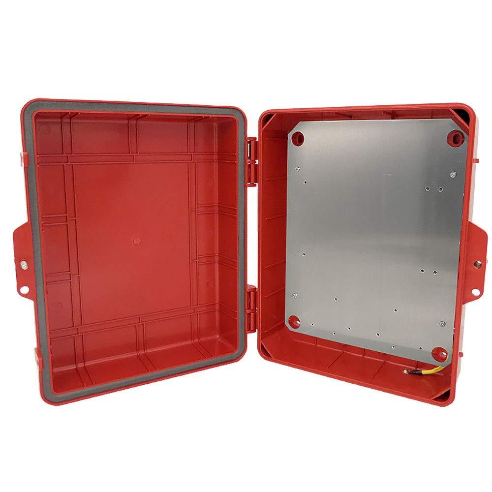 Altelix Red NEMA Enclosure 12'' x 8'' x 4'' Inside Space Polycarbonate + ABS Weatherproof Tamper Resistant NEMA Box with Aluminum Equipment Mounting Plate