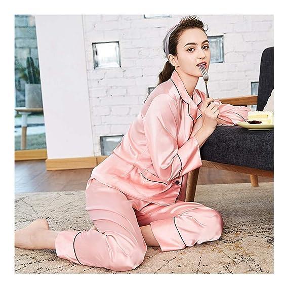 HAOLIEQUAN Sleep Lounge Satinado Mujeres Pijamas Primavera Ropa De Noche Las Mujeres De Manga Larga Ropa Interior De Seda Informal: Amazon.es: Deportes y ...