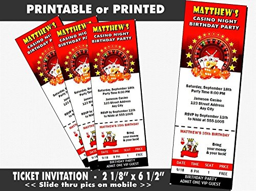 Casino Dice Birthday Party Ticket Invitation, Printable or Printed Option
