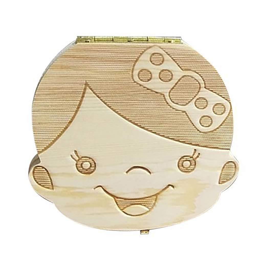 Caja organizadora de dientes de madera para guardar los dientes del bebé, caja de recuerdo de almacenamiento para niños baby boy Talla:11.3x12.5x3cm LEACK