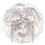 SOLEDI Bride Bouquet Bride Holding Bouquet with Crystal Diamond Ribbon Artificial Flower (Pattern-A)