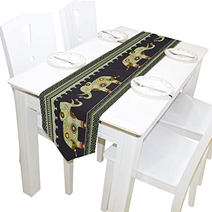 Fantastic Amazon Com Oprint Table Runner Home Decor Indian Elephant Home Remodeling Inspirations Genioncuboardxyz