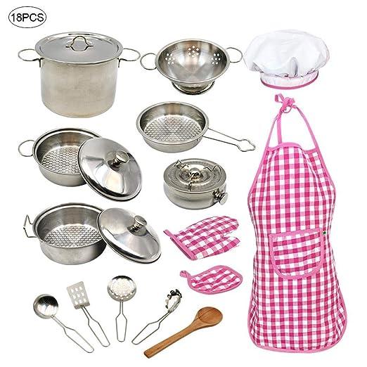 Euopat Kitchen Pretend Play Toys,18PCS / Set Chef Dress Up Clothes Play Juego De Accesorios De Cocina, con Ollas Y Sartenes De Acero Inoxidable, ...