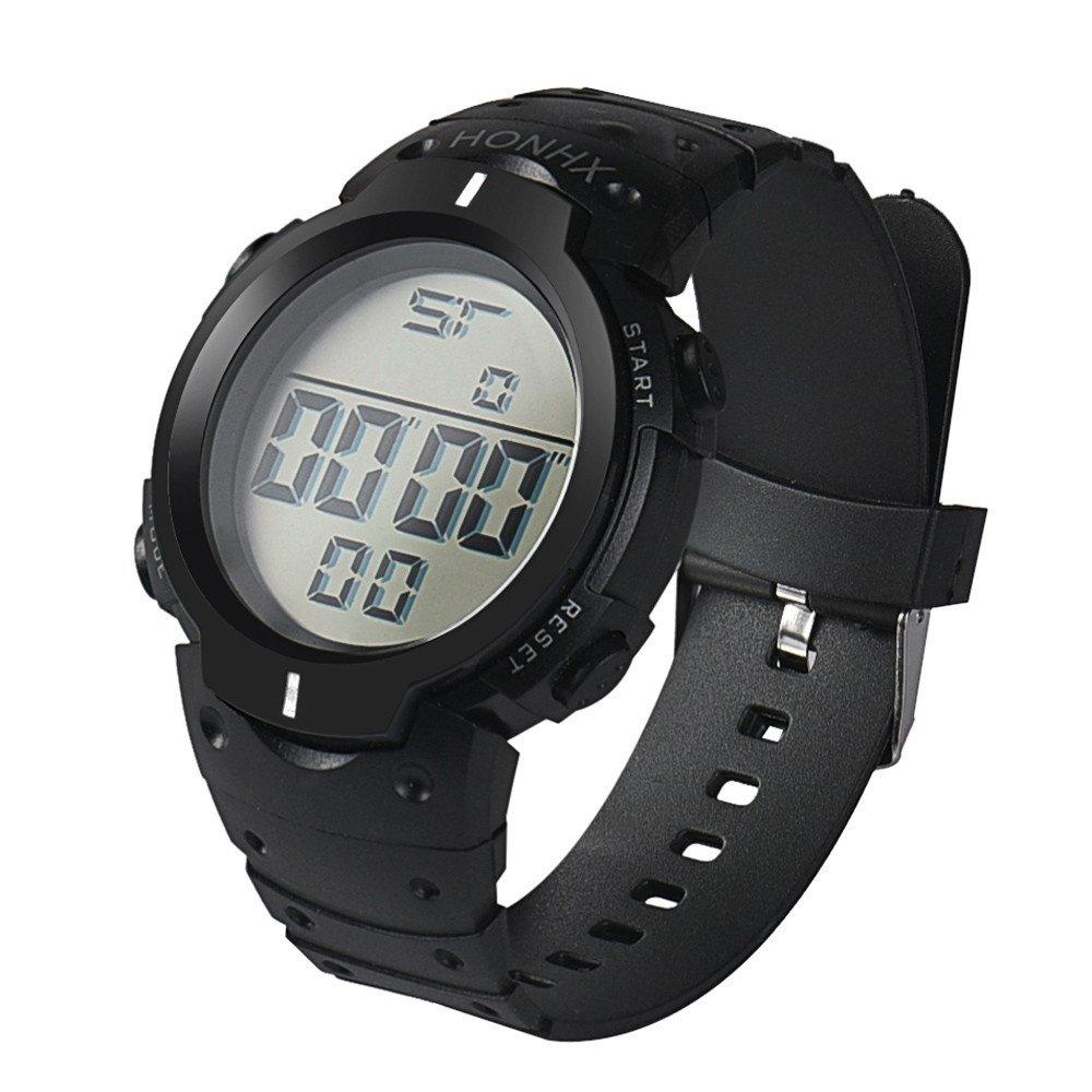 Fashion Waterproof Men's Boy LCD Digital Watch,Outsta Stopwatch Date Rubber Sport Wrist Watch (White)