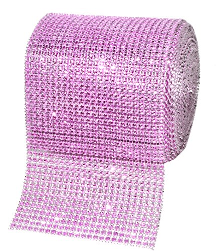 (Mandala Crafts Faux Diamond Bling Wrap, Faux Rhinestone Crystal Mesh Ribbon Roll for Wedding, Party, Centerpiece, Cake, Vase Sparkling Decoration (4.75 Inches 24 Rows 10 Yards, Pink))