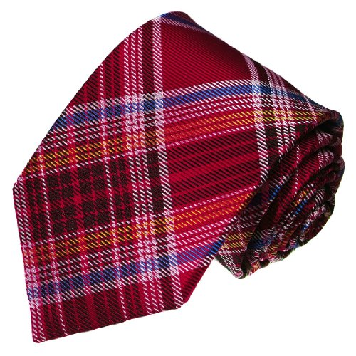 LORENZO CANA - Luxury Italian 100% Silk Tie Red Blue Yellow White Checkered - 36094