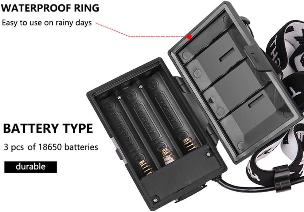 torche frontale super lumineuse de 10000 lumens Zoomable 3 modes Lampe frontale Micro Torches dentr/ée et de sortie avec fonction daffichage de lalimentation XHP90.2 Lampe frontale LED rechargeable