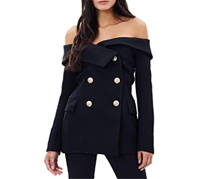 76e19f2a3625 Image Unavailable. Image not available for. Color: Michael Palmer Womens Black  Sexy Off Shoulder Blazer Black Double Breasted Slash Neck Vintage Slim Coats