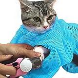 【iHappiness】 猫用 みのむし袋 おちつくネット ねこ用 ネット 猫 シャンプー 爪切り 耳掃除 が楽々 (ターコイズ)