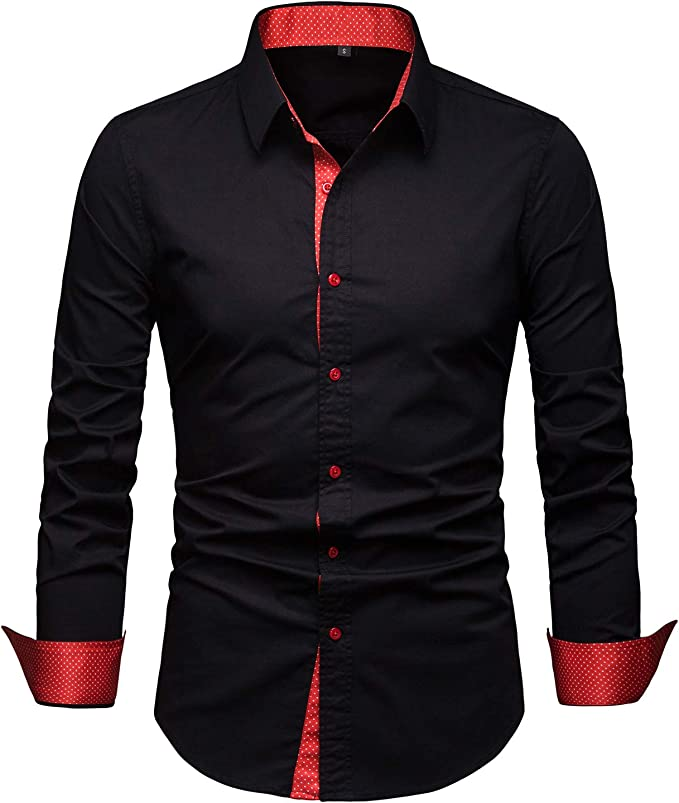 SELX Men Shirts Casual Long Sleeve Relaxed Fit Button Up Formal Shirt Top
