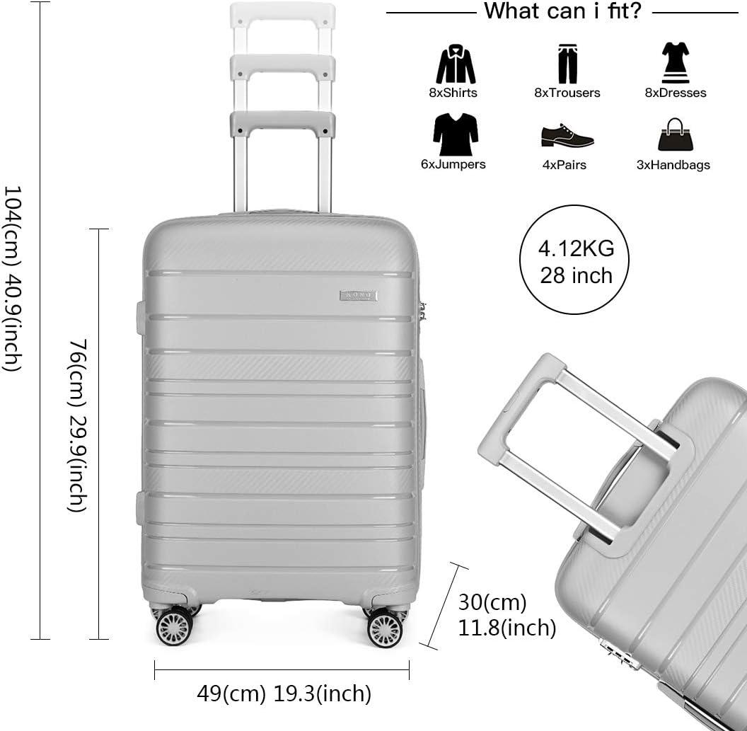Grand Valise Trolley Rigide L/éger 4 roulettes Set de Bagages avec Serrure TSA Blanc Kono Set de 2 Valises 55cm Bagage Cabine